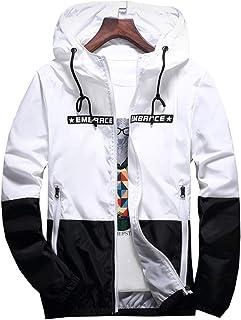 3b517475c AITFINEISM Men's Lightweight Hooded Zip up Sports Jacket Windproof  Windbreaker