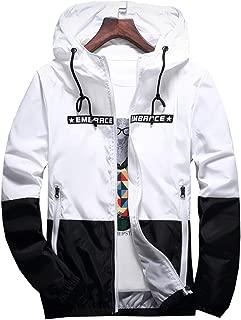 AITFINEISM Men's Lightweight Hooded Zip up Sports Jacket Windproof Windbreaker