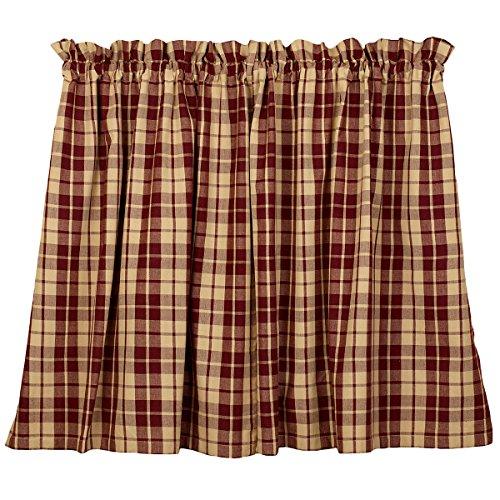 """Burgundy Farmhouse Star 36"""" Curtain Tiers"""