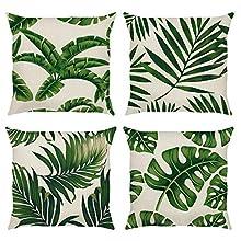 Bonhause Juego de 4 Funda de Cojín 45x45cm Hojas Tropical Verde Algodón Lino Fundas de Almohada para Cojines Decorativos para Exterior Sofá Cama Coche Hogar