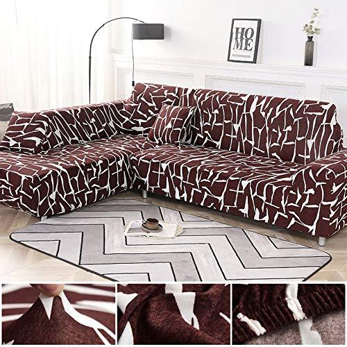 Juego de Fundas geométricas para sofá, Funda elástica para sofá para Sala de Estar, Apto para sofá esquinero, Chaise Longue A5, 2 plazas