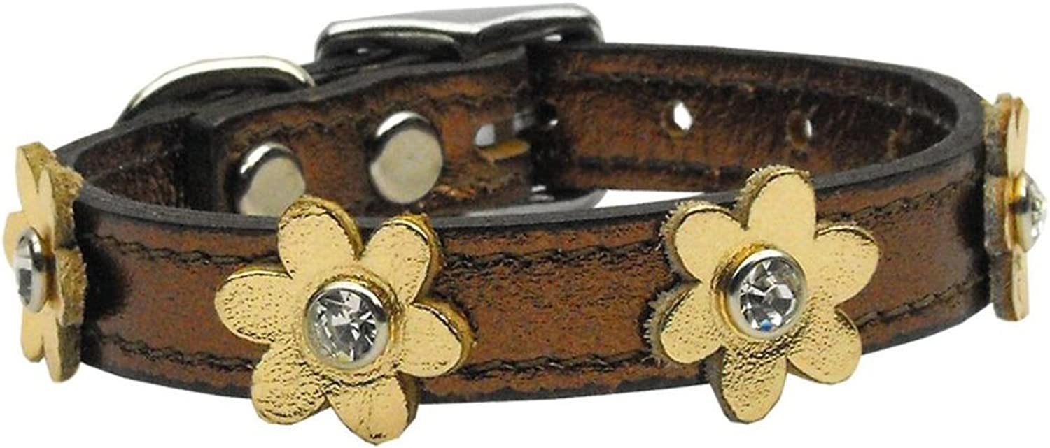 Mirage Pet Products 8308 12BzGd Flower Leather Dog Collar, 12 , Bronze gold