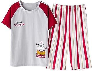 Women Short Sleeve Pajama Sets Nightwear Summer Cartoon Sleepwear Round Neck Cute Big Size Ladies Pijama