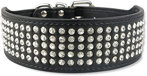 new arrival Mallofusa 2021 PU Leather Dog Collars 5 Rows Rhinestone Pet Collars for lowest Dog Cat Puppy outlet sale
