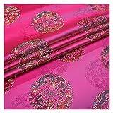 VIAIA Tela de la Tela de la Tela de la Tela de la Seda Brocado Telas de Nylon para el Material de Costura para la Tela Textil de Vestir (Color : Plum Red, Size : 50x75cm)