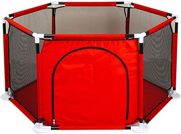Portable Baby Fence Toddler Guardrail Crawling Mat Indoor Playground Protective Playpen Tent Assembled House Play Yard Oxford Cloth Ball Pool Toy (Balls and mats Not Included)