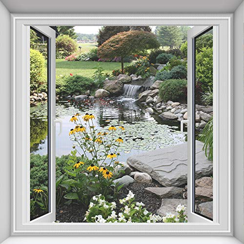 Fliegengitter Fenster 2-er Set 250 * 150cm | Zuschneidbar ohne Bohren Klebmontage | Insektenschutz Fenster Fliegenvorhang Moskitonetz, Weiß