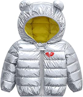 Xifamniy Infant Unisex Baby Long Sleeve Hooded Coat Heart Print Zipper Down Jacket Silver