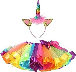 DIXIUZA Disfraz para Niñas Diadema Unicornio Floral con