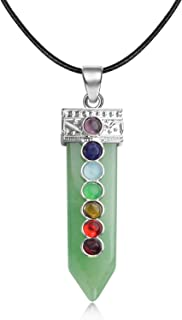 "JXMYBA Healing Crystal Pendant Men's and Women's 7 Chakra Balanced Gemstone Necklace with 18""Stainless Steel Chain Strap Gift Box"