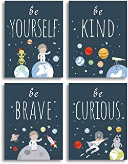 Unframed Inspirational Art Print, Outer Space Planet Wall Art Painting, Set of 4 (12 Inch x 16 Inches) Be Kind Be Brave Be...