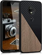 kwmobile Funda rígida Compatible con Motorola Moto G7 / Moto G7 Plus - Carcasa de Madera y Fibra de Carbono - en Negro/marrón Oscuro