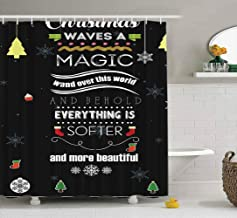 Tooperue Baby Shower Curtain Kids Christmas, Shower Curtain for Bathroom with Hooks Christmas Quote Waves Magic Wand Over This World Everything Softer More 72×72 Inch,Eco-Friendly,No Oder,Waterproof