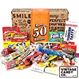 VINTAGE CANDY CO. 50TH BIRTHDAY RETRO CANDY GIFT BOX - 1970 Decade Nostalgic Childhood Candies - Fun Gag Gift Basket For Milestone FIFTIETH Birthday - PERFECT For Man Or Woman Turning 50 Years Old