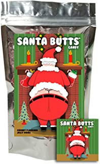 Santa Butts Candy - Cherry Fruit Jellies - Funny Unique Christmas Stocking Stuffer Gag Gift for Teens, Girls, Boys and Kids