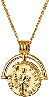 Coin Necklace 18K Gold Plated Vintage Coin Round High Polish Pendant Christmas Gold Sweater Necklace for Women Girls