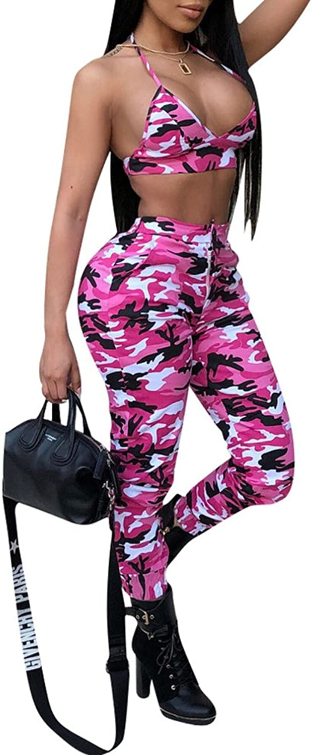 Remelon Womens Sleeveless Bodycon Camo Print Halter Crop Top Long Pants Set 2 Piece Outfit Jumpsuits