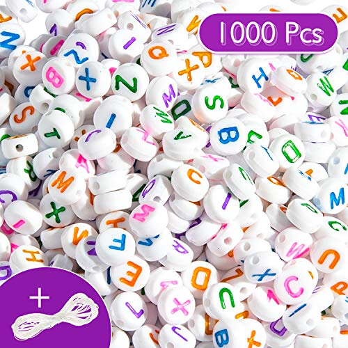 Whaline 1000 Pcs Round Alphabet Beads White Beads with Colorful Letters A-Z Letter Beads with 10m Crystal String Cord for DIY Jewelry Making Craft Necklaces Bracelets Handmade Gift Educational Toys