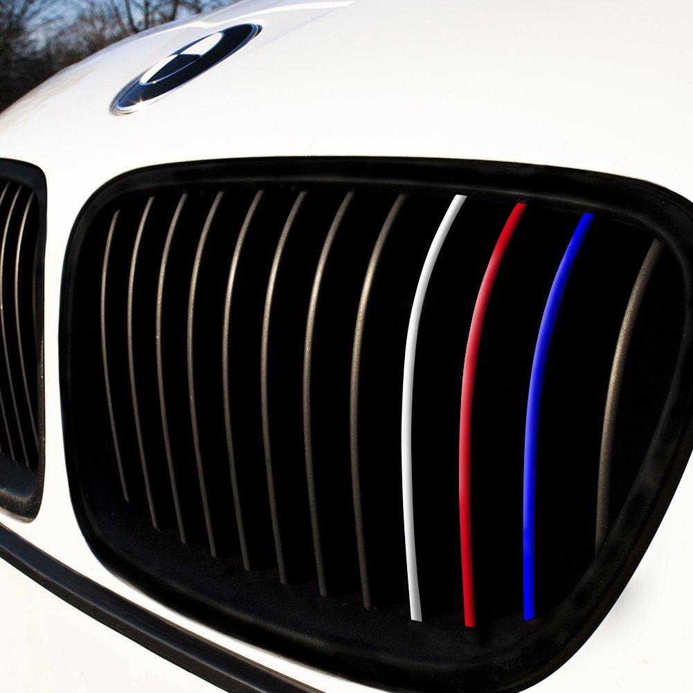Wandkings – Adhesivos para parrilla delantera – con colores reflectantes (azul oscuro, rojo, blanco plateado, luz azul): Amazon.es: Coche y moto