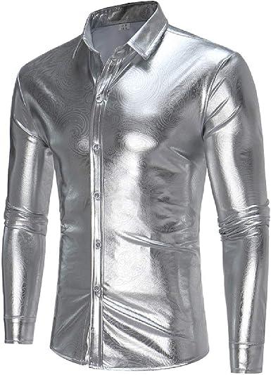 securiuu - Camisa de Vestir para Hombre con Botones metálicos ...