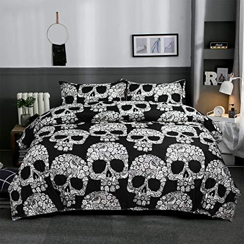 Schwarz Bettbezug Set 100% Polyester Bettwäsche Set 3 Stück Skull Bettbezug Set(1 Bettbezug 200x200cm 2 Kissenbezüge 50x75cm)
