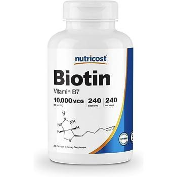 Nutricost Biotin (Vitamin B7) 10,000mcg, 240 Capsules - Gluten Free, Non-GMO