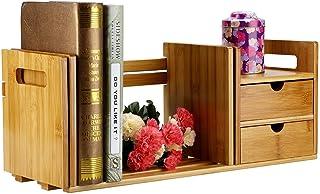 Estantería de mesa, de madera de bambú, extensible, con 2 cajones para escritorio y oficina