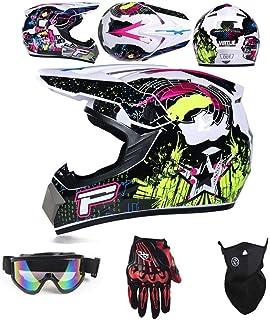 Rosa Adulti Casco da Motociclista Set con Occhiali//Maschera//Guanti Casco da Cross Motorcycle Sports DH off-Road Enduro ATV MTB Quad Caschi Moto per Uomini Donne LEENY Casco di Motocross Nero