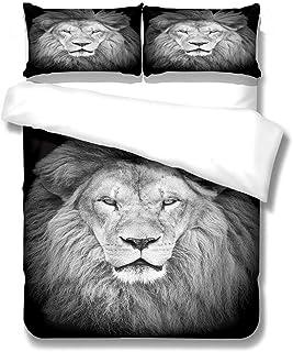 QHDXL Parure De Lit 220x240 Adulte Lion Gris Housse de Couette Parure de Couette et 2 x Taies Oreiller 50 x75cm, Housse Co...
