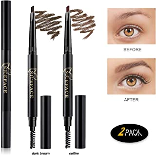 Eyebrow Pencil 2 Packs, NiceFace Waterproof Smudge-proof Automatic Eye Brow Makeup Kit with Eyebrow Brush, Dark Brown & Coffee(set#1)