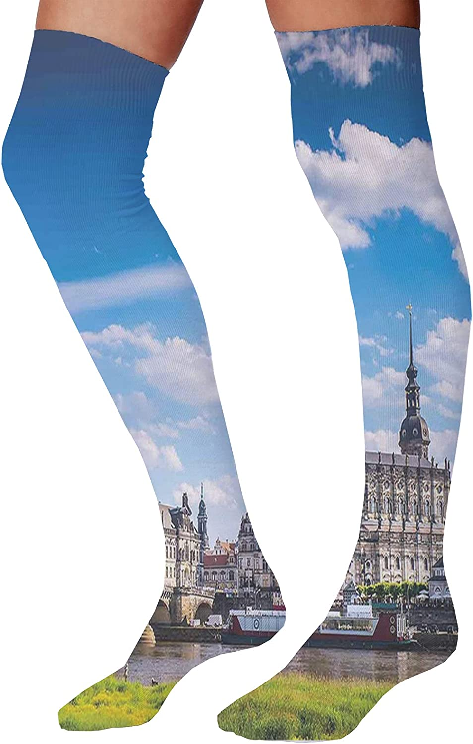 Men's and Women's Fun Socks,Ancient Stone Borders on Mountains Famous Historical Monument Gothic Art