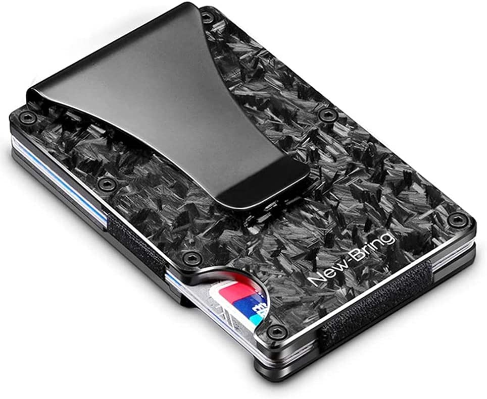 DYKESON Minimalist Metal RFID Blocking Wallet with Money Clip Aluminium / Carbon Firber Wallet for Men Slim Card Case Wallet QJ5 (Carbon Fiber, Chic Black)