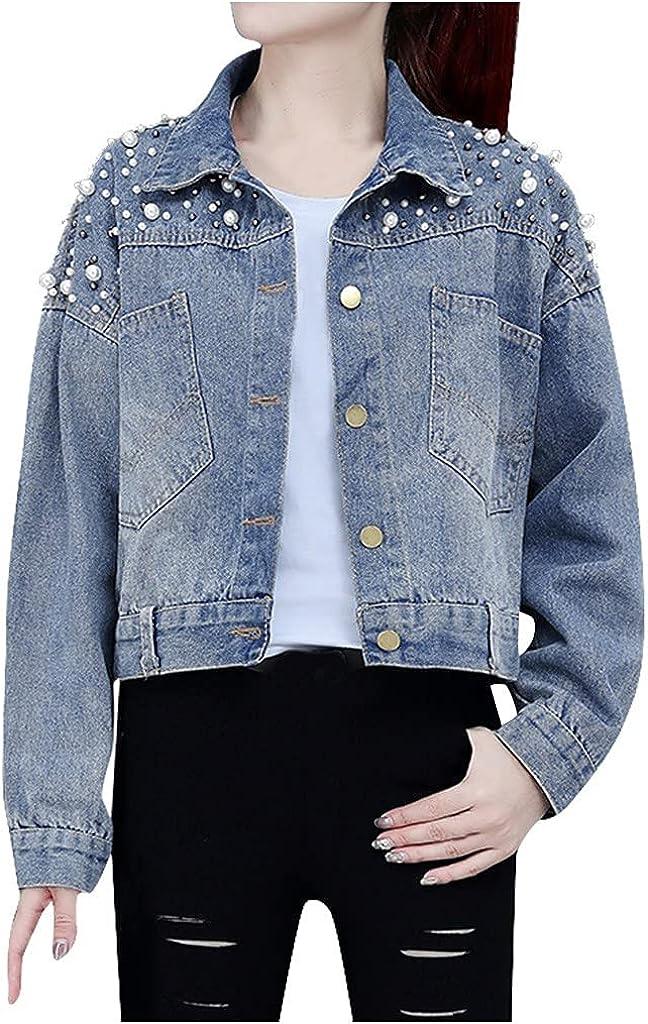 Nyybw Women's Autumn Winter Short Denim Jacket Lapel Denim Long Sleeve Button Down Jean Jacket Outerwear with Pockets