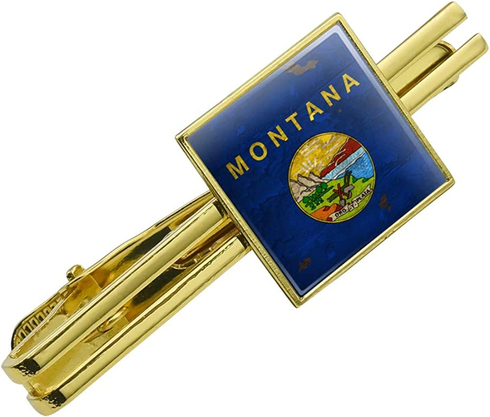 GRAPHICS & MORE Rustic Montana State Flag Distressed USA Square Tie Bar Clip Clasp Tack Gold Color