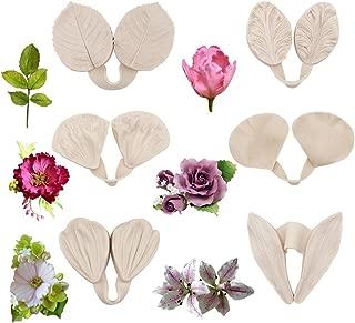 12pcs Gumpaste Flower Silicone Mold - Gum Paste Peony Flower Mold,Fondant Rose Veined Mold,Sugar Flower Cake Decorating Tool for Lily Calliopsis Tulips Wedding Flower Cake Decoration
