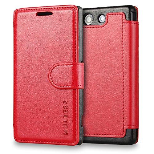 Mulbess Handyhülle für Sony Xperia Z3 Compact Hülle Leder, Sony Xperia Z3 Compact Handytasche, Layered Flip Schutzhülle für Sony Xperia Z3 Compact Case, Wein Rot