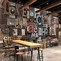 壁画壁紙3Dステレオアイシンレトロ壁画レストランカフェバー粘着紙-250cm(W)x200cm(H)