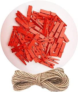 DurReus 50 Pieces DIY Mini Color Wooden Clothespins Home Decoration Hanging Craft Clips Photo Holder Paper Peg Jute Twine Clothing Line Orange