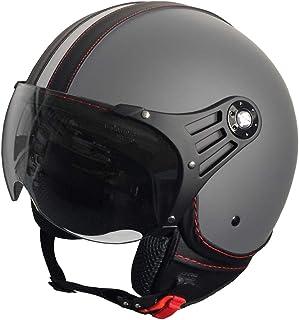 RALLOX Jethelm P01 Retro matt Grau Motorradhelm Größe L Sturzhelm Helm Rollerhelm