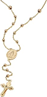 18K Yellow Gold over Sterling Silver Style Rosary Necklace (3mm), Lobster Claw Clasp, 17 inches