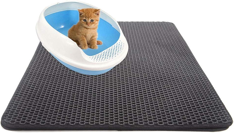 2Layer Cat Litter Mat,Honeycomb Litter Trapper,Waterproof Urine,Keep Floor Carpet Clean,Black,XS