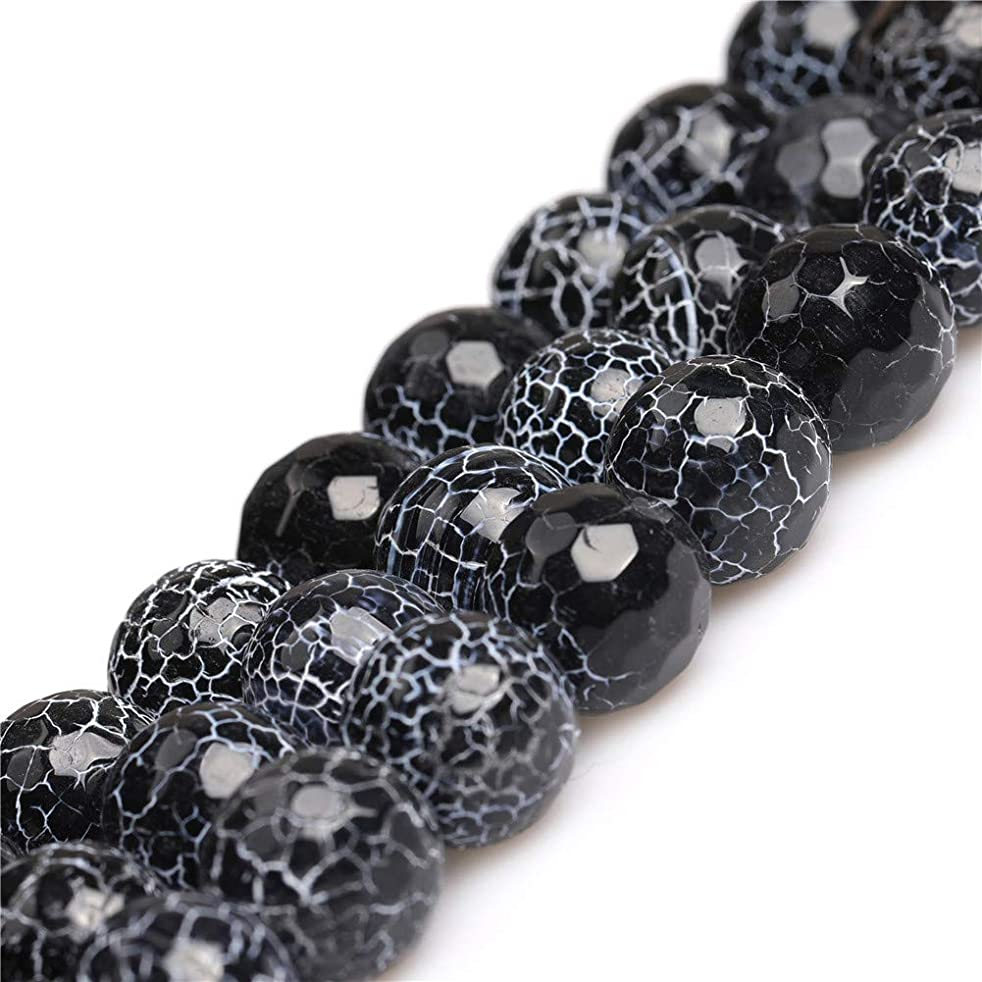 JOE FOREMAN 14mm Black Agate Semi Precious Gemstone Round Faceted Loose Beads for Jewelry Making DIY Handmade Craft Supplies 15