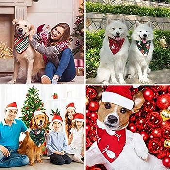 WELLXUNK 4 Pièces Bandanas de Chien de Noël, Écharpe pour Animaux de Compagnie, Bavoirs Triangulaires pour Chien, Foulard pour Chien Lavable, pour Accessoires de Costume d'Animal de Compagnie