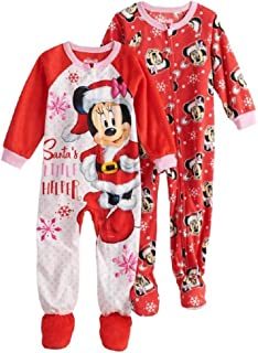 0e7c7a49ee Disney s Minnie Mouse Christmas Santa s Little Helper Footed Sleeper Pajamas  (2-Pack) -