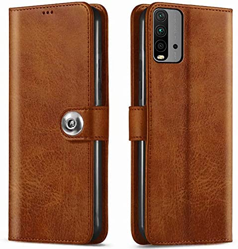 TheGiftKart Genuine Leather Finish Flip Cover for Redmi 9 Power Inside Pockets Inbuilt Stand Wallet Style Back Case Designer Button Magnet Closure Brown