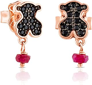 TOUS Motif Black Spinnel and Ruby Bear Stud Earrings