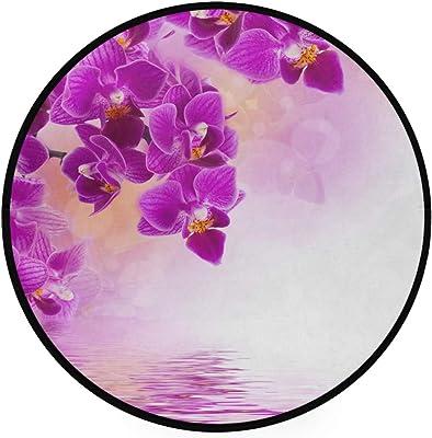 Naanle Flower Violet Anti Fatigue Round Area Rug Non Slip Absorbent Comfort Round Rug Floor Carpet Yoga Mat for Entryway Living Room Bedroom Sofa Home Decor (3' in Diameter)