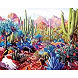 MOJIU Paintworks Paint by Number Kit for Adults Kids Beginner, DIY Canvas Painting by Numbers for Home Decoration,Desert Cactus Animal,16X20Inch