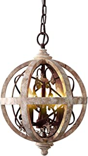 KunMai Rustic Retro Weathered Wooden Globe Metal Orb Crystal 3-Light Chandelier Candle Style Pendant Light for Kitchen Island Entry Area Living Room (Small)