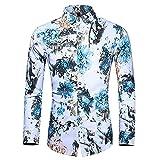 Camisas De Manga Larga Para Hombre - Camisa Aloha Informal Para Hombre - Camisas Hawaianas De Manga Larga Camisa Con Botones Estampada De Flores Azules Vintage Funky - Para Ropa De Playa Ropa De P